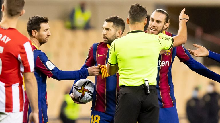 Lionel Messi was sent off for lashing out at Asier Villalibre