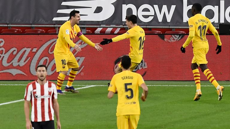 Lionel Messi inspired Barcelona to victory at Atheltic Bilbao - AP photo