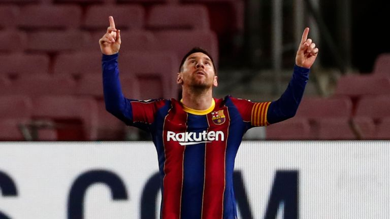 Lionel Messi curled in a stunning free kick after 20 minutes for his milestone goal