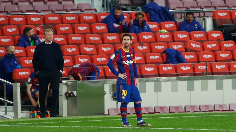 Barcelona are struggling this season under Ronald Koeman but the club's presidential elections are likely to have a big bearing on Lionel Messi's future. Pic: AP