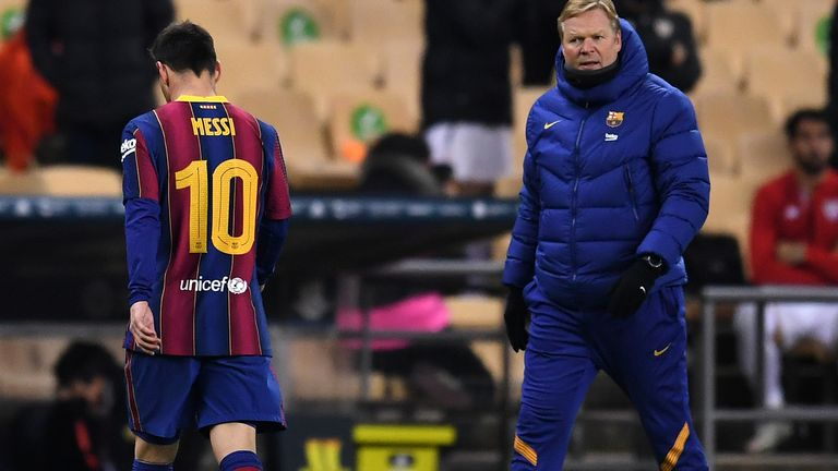 Lionel Messi walks off after seeing red in Barcelona's 3-2 defeat by Athletic Bilbao