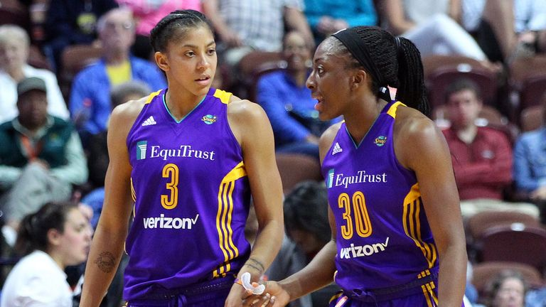 Los Angeles Sparks forwards Candace Parker and Nneka during a game against the Connecticut Sun