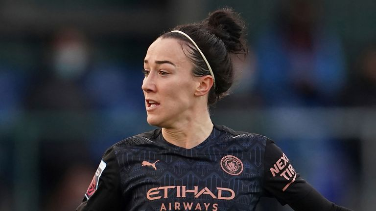 Lucy Bronze of Manchester City Women during the FA WSL soccer match between Everton Ladies and Manchester City Women at Walton Hall Park Stadium, Liverpool, England, Sunday Dec. 6, 2020. (AP Photo/Jon Super)