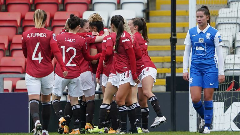 Man Utd celebrate Leah Galton's goal against Birmingham City