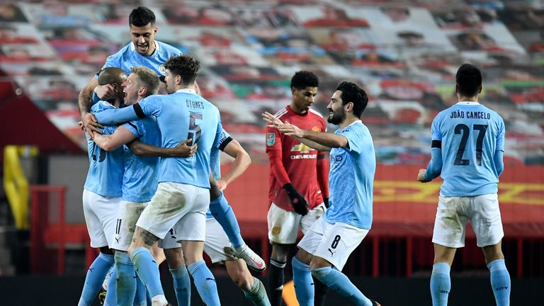 Manchester City celebrated their second goal when they won the Manchester United (AP) Carabao Cup