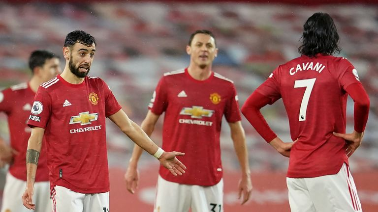 Manchester United's players during their home defeat to Sheffield United