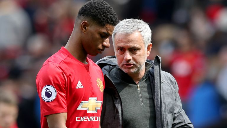 Manchester United v Swansea City - Premier League - Old Trafford Manchester United's Marcus Rashford (left) with Manchester United manager Jose Mourinho after the final whistle during the Premier League match at Old Trafford, Manchester.
