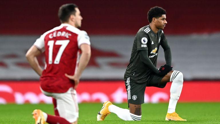 Marcus Rashford took the knee ahead of kick-off at the Emirates