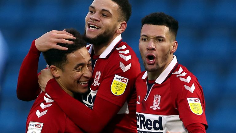 Middlesbrough's Marcus Tavernier (left) celebrates scoring his side's second goal of the game
