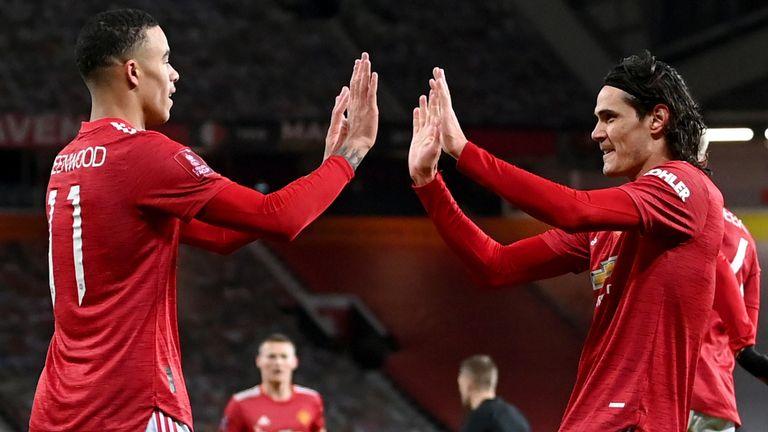 Mason Greenwood and Edinson Cavani, Manchester United