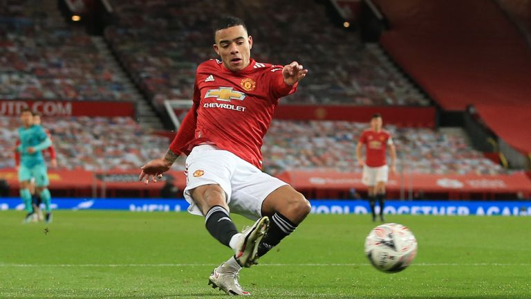 Mason Greenwood equalises for Manchester United against Liverpool in the FA Cup fourth round tie