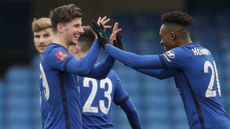 Mason Mount celebrates with Callum Hudson-Odoi after scoring Chelsea's opening goal against Morecambe  - AP Photo/Matt Dunham
