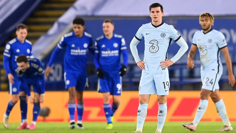 Mason Mount and Chelsea were frustrated as Leicester won 2-0 on Tuesday night