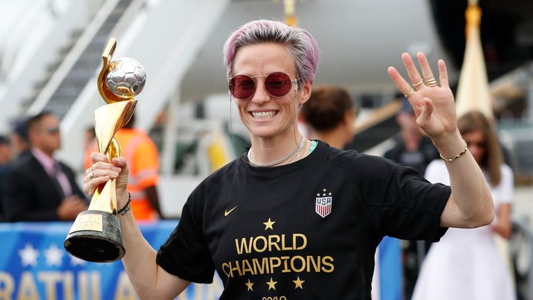Megan Rapinoe with the Women's World Cup trophy in 2019