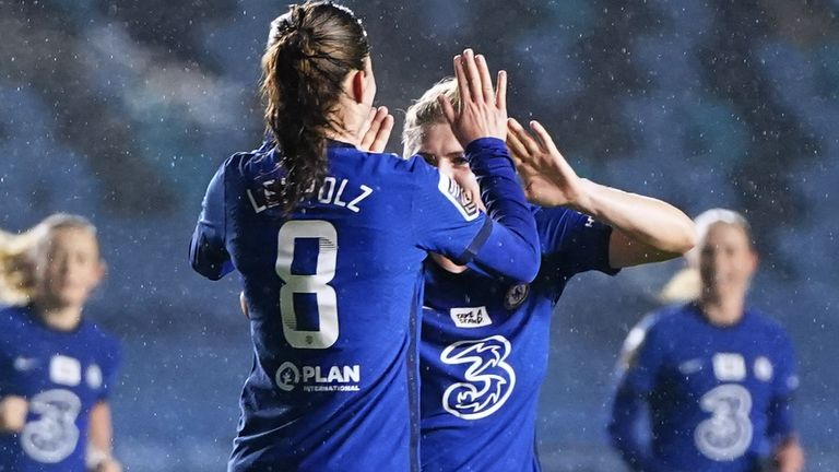 Chelsea's Melanie Leupolz (left) celebrates scoring her side's first goal of the game during the FA Continental Tyres League Cup quarter-final match at Academy Stadium, Manchester. Picture date: Wednesday January 20, 2021.