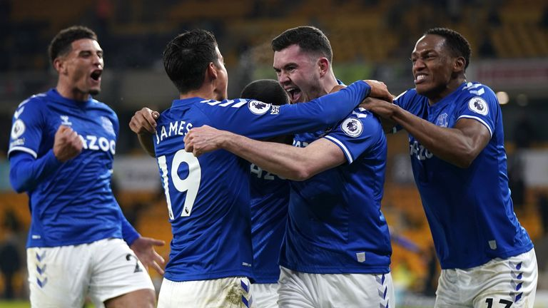 Michael Keane celebrates his goal against Wolves earlier this month