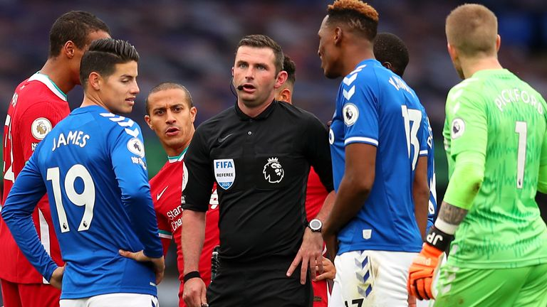Michael Oliver refereed a controversial Merseyside derby in October 2020