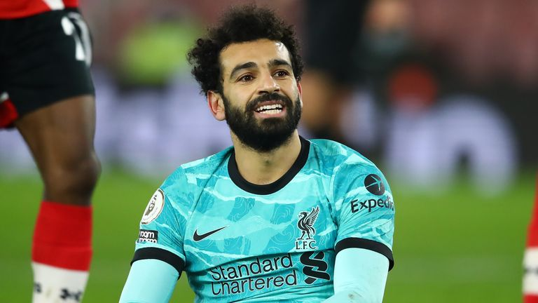 Liverpool's Mohamed Salah looks frustrated during his team's defeat to Southampton