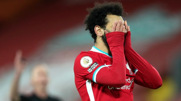Mohamed Salah puts his hands to his head during Liverpool's defeat to Burnley at Anfield