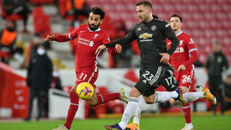 Mohamed Salah and Luke Shaw vie for the ball during the goalless draw between Liverpool and Manchester United at Anfield