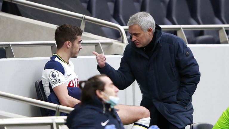 Jose Mourinho (right) and Harry Winks