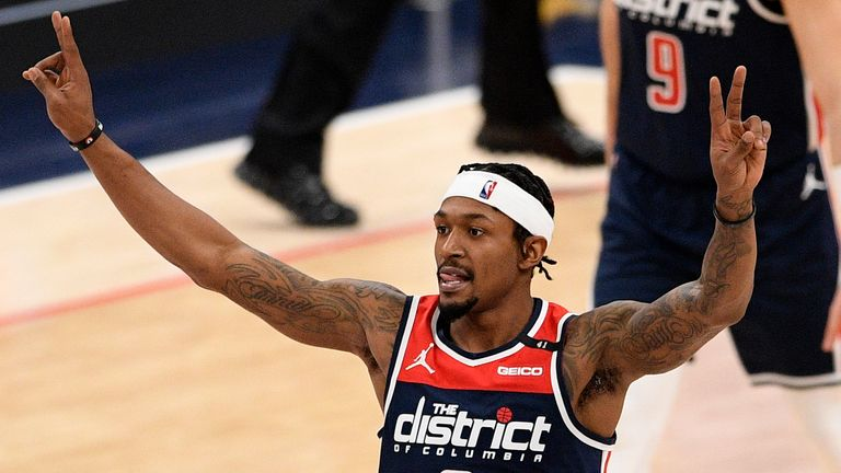 Washington Wizards guard Bradley Beal (3) gestures during the second half of an NBA basketball game against the Phoenix Suns, Monday, Jan. 11, 2021, in Washington.