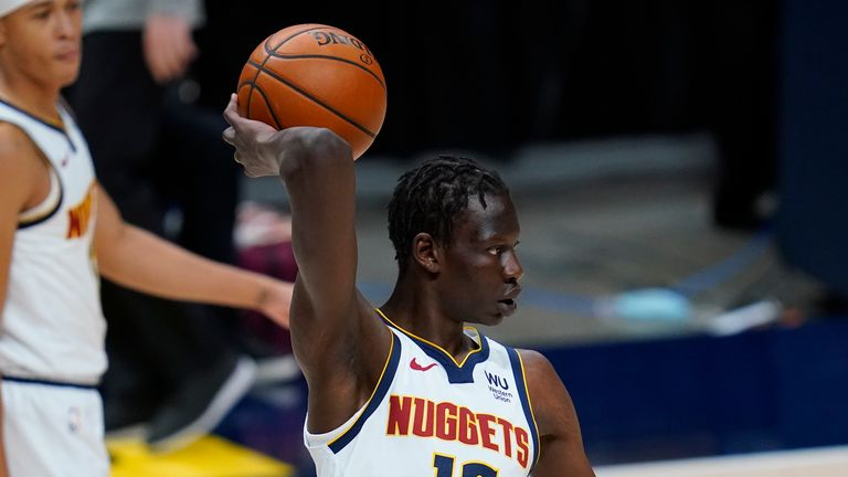 Denver Nuggets center Bol Bol (10) in the second half of an NBA basketball game Monday, Dec. 28, 2020, in Denver. The Nuggets won 124-111.
