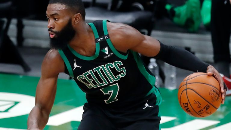 Boston Celtics' Jaylen Brown plays against the Cleveland Cavaliers during the first half of an NBA basketball game, Sunday, Jan. 24, 2021, in Boston.