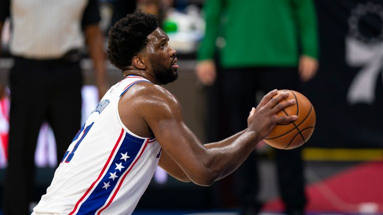 Philadelphia 76ers center Joel Embiid with the free throw attempt during the first half of an NBA basketball game against the Boston Celtics, Wednesday, Jan. 20, 2021, in Philadelphia. The 76ers won 117-109.