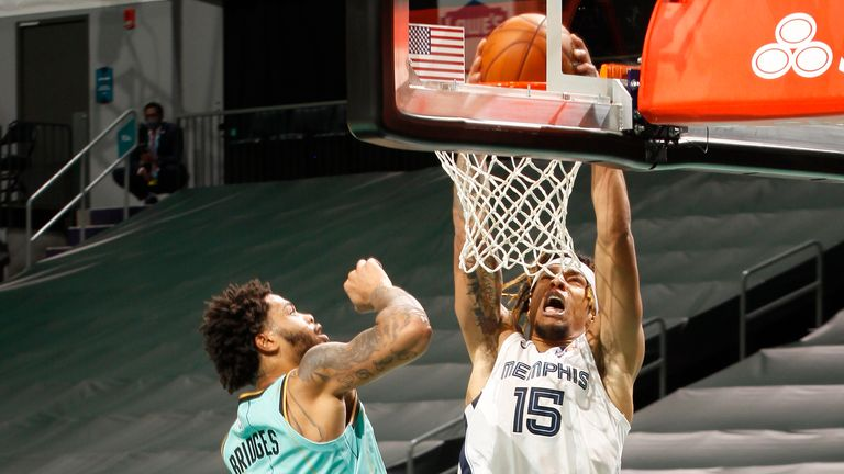 Brandon Clarke #15 of the Memphis Grizzlies dunks the ball during the game against the Charlotte Hornets