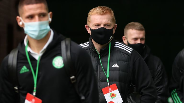 Celtic manager Neil Lennon arrives for Scottish Premiership match at Celtic Park, Glasgow