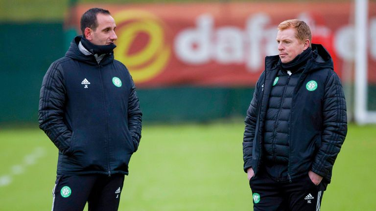 Neil Lennon (right) with assistant John Kennedy
