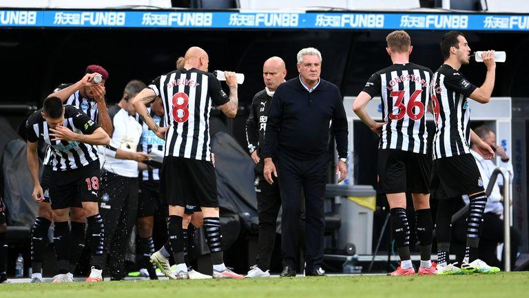 Newcastle players take a drink break