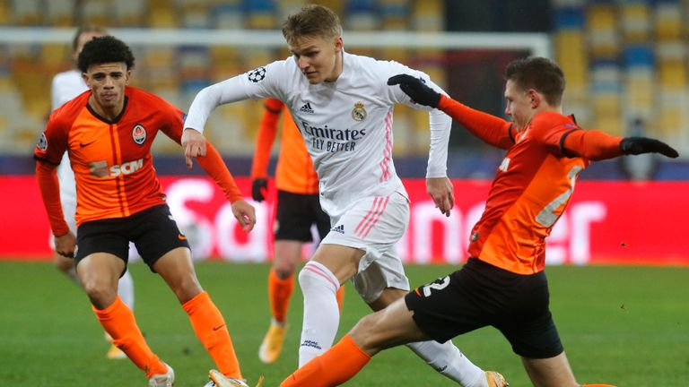 Martin Odegaard showing of his dribbling ability for Real Madrid
