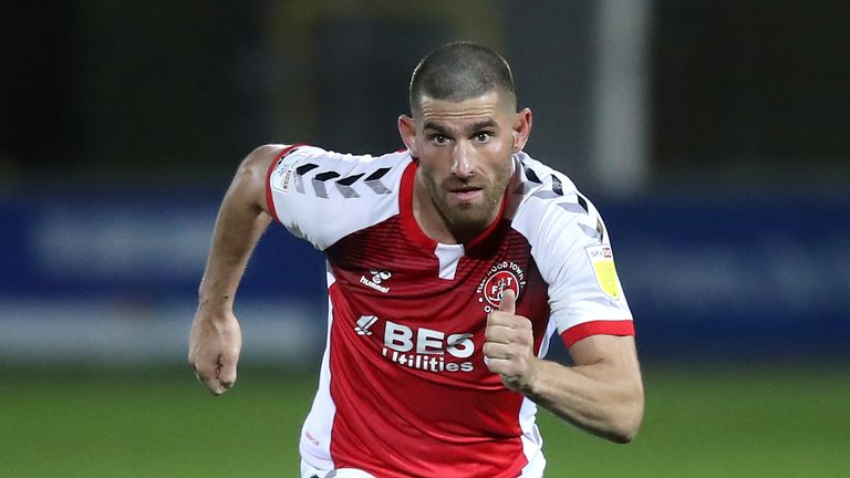 Ched Evans in action for Fleetwood Town