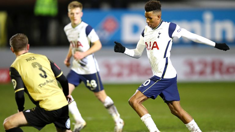 PA - Tottenham midfielder Gedson Fernandes in action against Tottenham in the FA Cup