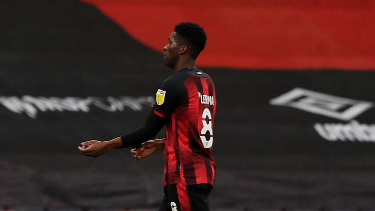 Bournemouth midfielder Jefferson Lerma after he is sent off against Luton Town