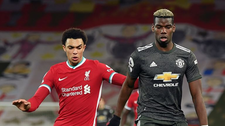 PA - Liverpool's Trent Alexander-Arnold (left) and Manchester United's Paul Pogba