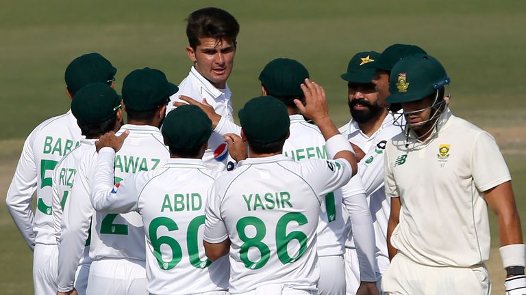 Shaheen Afridi celebrates a wicket in Pakistan vs South Africa (Associated Press)