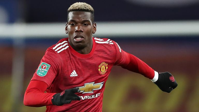 Paul Pogba in Carabao Cup action for Manchester United