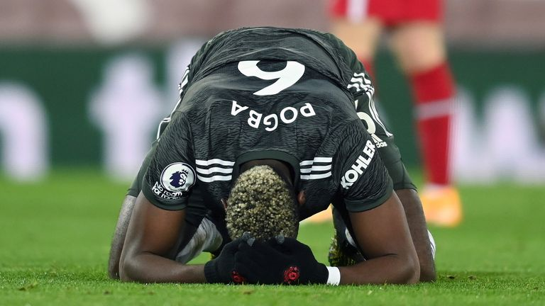 Manchester United's Paul Pogba reacts after a missed chance during the Premier League match at Anfield, Liverpool.