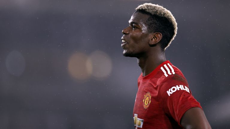 Manchester United's Paul Pogba during the Premier League match against Fulham