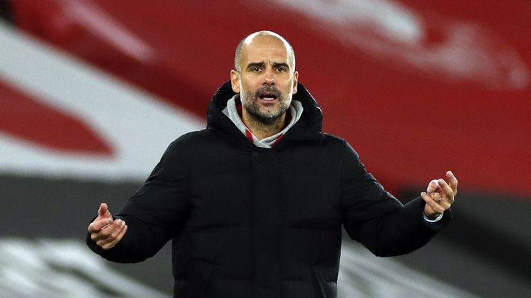 File photo dated 19-12-2020 of Manchester City manager Pep Guardiola. Issue date: Monday January 25, 2021.