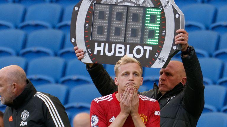 Manchester United midfielder Donny van de Beek comes on as a substitute (AP image)