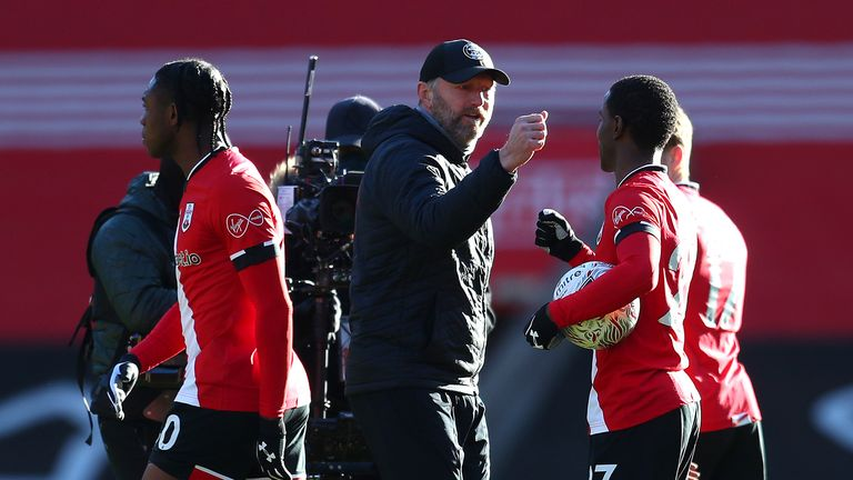Southampton manager Ralph Hasenhuttl (left) and Ibrahima Diallo celebrate after the final whistle during the Emirates FA Cup fourth round match at St. Mary's Stadium, Southampton. Picture date: Saturday January 23, 2021.