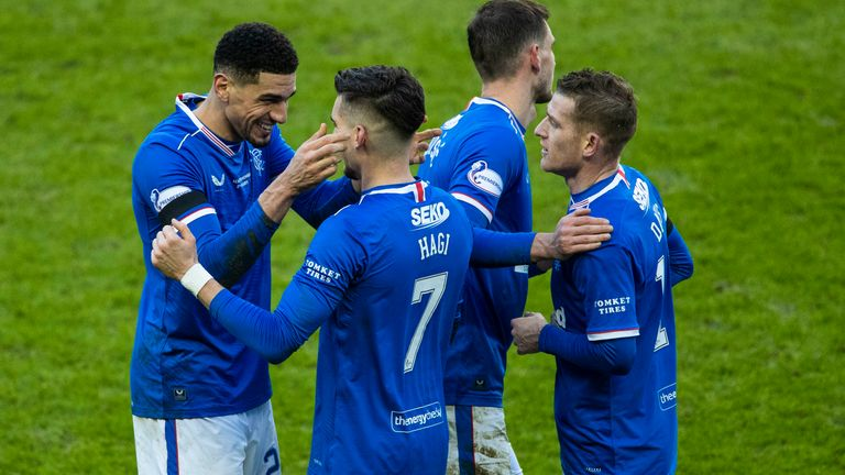 Rangers celebrate victory over Celtic Pic: PA