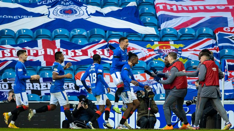 GLASGOW, SCOTLAND - JANUARY 02: Rangers players celebrate after Callum McGregor's own goal makes it 1-0 during a Scottish Premiership match between Rangers and Celtic at Ibrox Stadium, on January 02, 2021, in Glasgow, Scotland (Photo by Craig Williamson / SNS Group)
