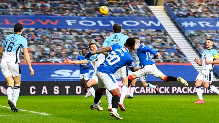 Ryan Kent scores to make it 1-0 Rangers during the Scottish Premiership match