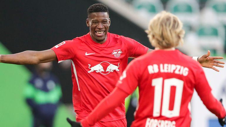 Nordi Mukiele celebrates his goal for RB Leipzig but Wolfsburg fought back