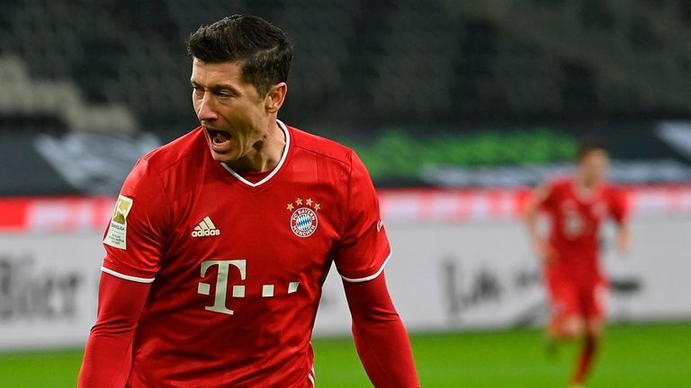Robert Lewandowski celebrates scoring for Bayern Munich